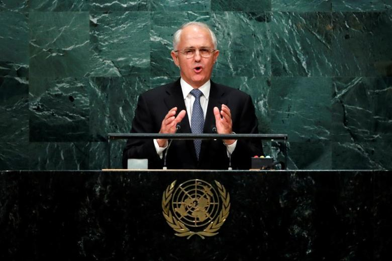 Australia's Prime Minister Malcolm Turnbull addresses the United Nations General Assembly in the Manhattan borough of New York, U.S. September 21, 2016.   REUTERS/Eduardo Munoz