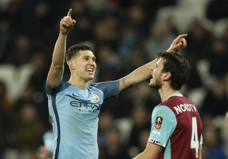 Football Soccer Britain - West Ham United v Manchester City - FA Cup Third Round - London Stadium - 6/1/17 Manchester City's John Stones celebrates scoring their fifth goal  Action Images via Reuters  / John Sibley Livepic