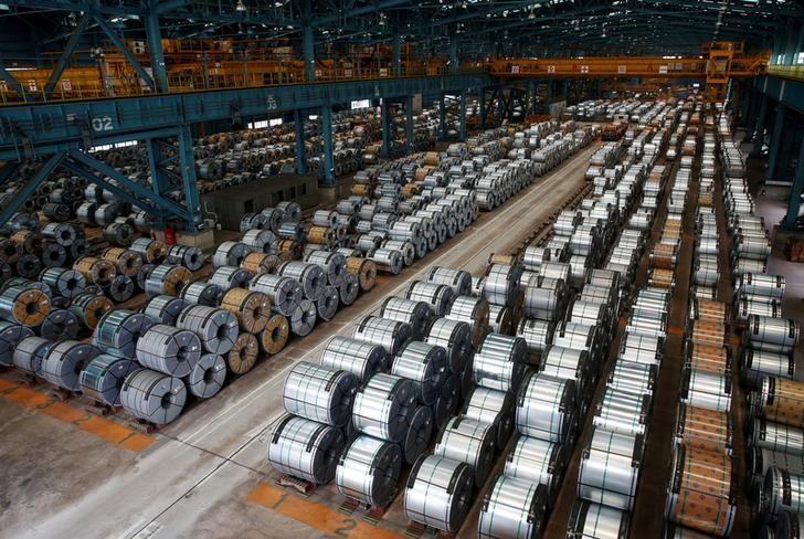 Rolls of steel are stacked inside the China Steel Corporation factory, in Kaohsiung, southern Taiwan August 26, 2016. REUTERS/Tyrone Siu/File Photo