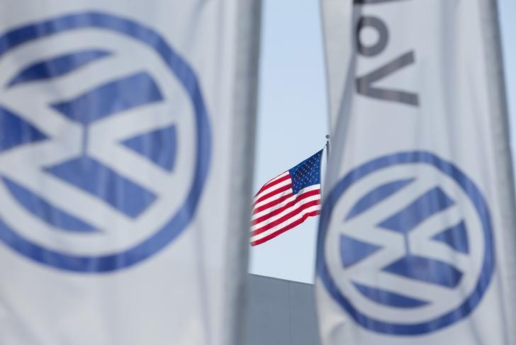 An American flag flies next to a Volkswagen car dealership in San Diego, California, U.S. September 23, 2015. REUTERS/Mike Blake/File Photo