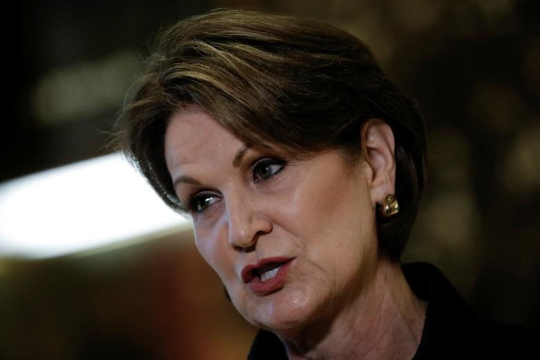 Marillyn Hewson, Chairman, President and Chief Executive Officer of Lockheed Martin Corporation, speaks to members of the news media after meeting with U.S.President-elect Donald Trump at Trump Tower in New York, U.S., January 13, 2017. REUTERS/Mike Segar