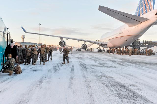A Boeing 747 with some 300 U.S. Marines, who are to attend a six-month training to learn about winter warfare, lands in Stjordal, Norway January 16, 2017. NTB Scanpix/Ned Alley/via REUTERS