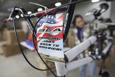 A patriotic label is affixed to the handlebars of each bike at the new Bicycle Corporation of America plant in Manning, South Carolina, November 19, 2014. The BCA plant, which is owned and operated by Kent International, started the new U.S. assembly line in October 2014. REUTERS/Randall Hill