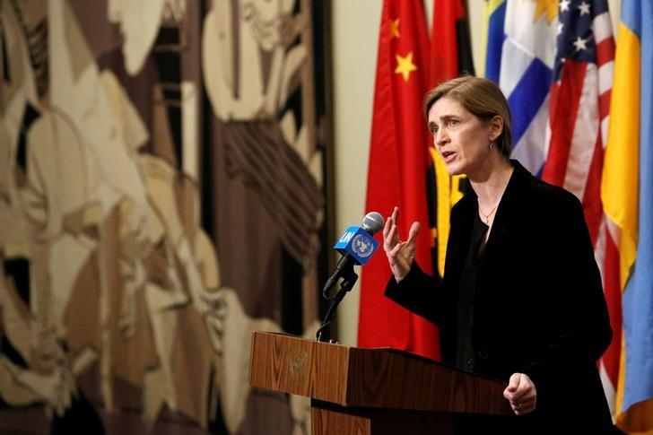 United States Ambassador to the United Nations Samantha Power addresses media following a United Nations Security Council vote, at the United Nations in Manhattan, New York City, U.S., December 19, 2016. REUTERS/Andrew Kelly