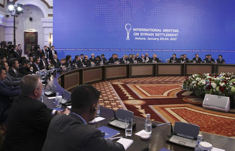Participants of Syria peace talks attend a meeting in Astana, Kazakhstan January 23, 2017. REUTERS/Mukhtar Kholdorbekov