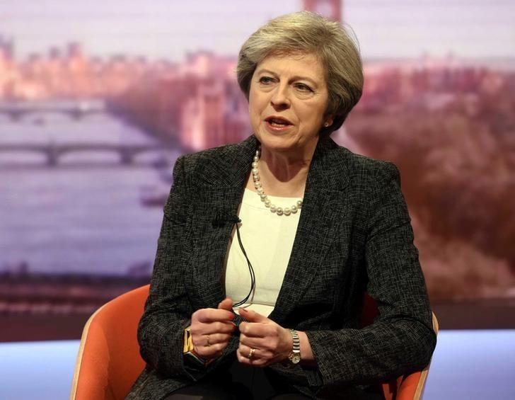 Britain's Prime Minister Theresa May speaks on the BBC's Andrew Marr Show in this photograph received via the BBC in London, Britain, January 22, 2017. Jeff Overs/Courtesy of the BBC/Handout via REUTERS