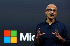 Microsoft Chief Executive Officer (CEO) Satya Narayana Nadella speaks at a live Microsoft event in the Manhattan borough of New York City, October 26, 2016. REUTERS/Lucas Jackson