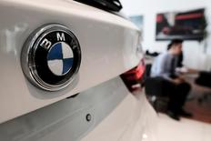 A BMW logo as seen on a BMW X5 car at a showroom in Jakarta, Indonesia January 11, 2017. REUTERS/Beawiharta