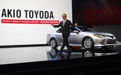 Akio Toyoda, president of Toyota Motor Corporation, introduces the 2018 Camry XLE during the North American International Auto Show in Detroit, Michigan, U.S., January 9, 2017.  REUTERS/Mark Blinch