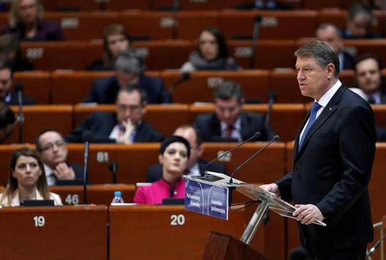 Romania 's President Klaus Iohannis addresses the Parliamentary Assembly of the Council of Europe in Strasbourg, France, January 25, 2017. REUTERS/Vincent Kessler/Files
