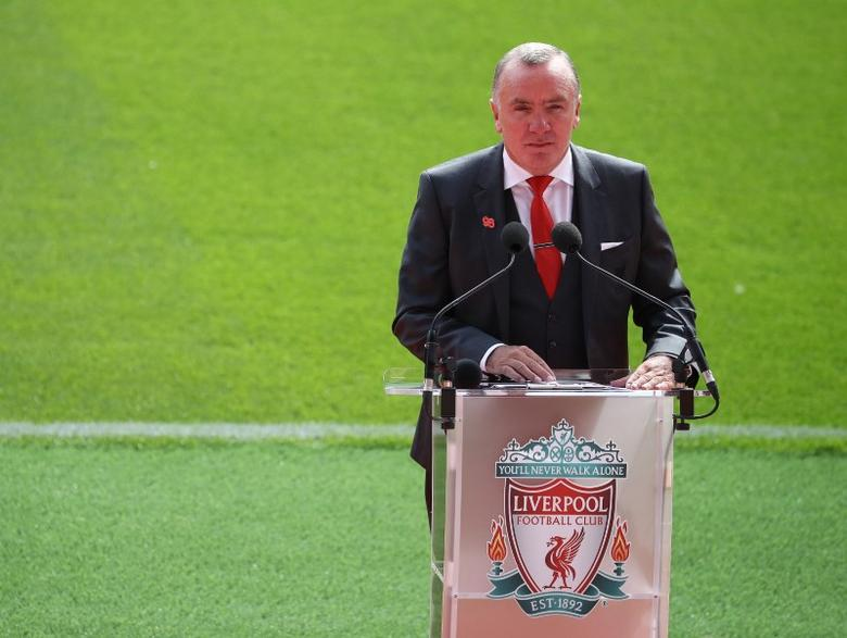 Britain Football Soccer - Liverpool - Official opening of redeveloped main stand at Anfield - Anfield - 9/9/16Liverpool Chief Executive Ian Ayre speaks during the opening of the newly built stand at Liverpool football club's Anfield StadiumReuters / Phil NobleLivepic/File Photo