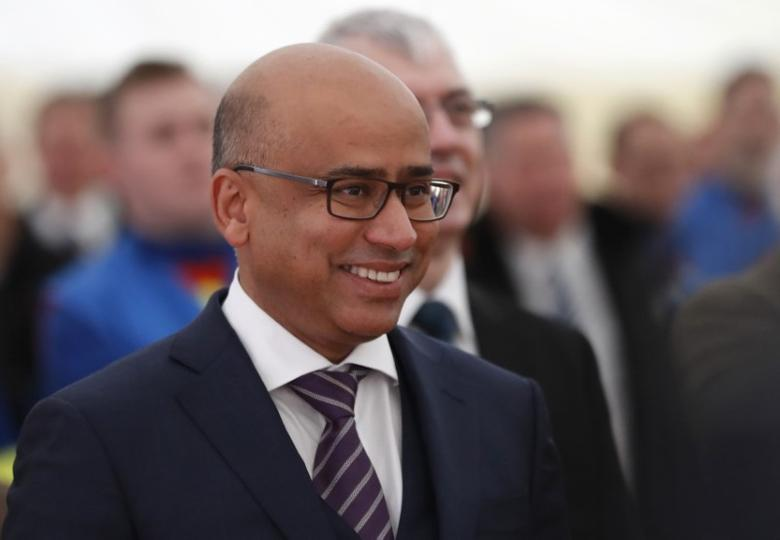 Sanjeev Gupta, executive chairman of Liberty House Group, listens to the speaker at the completion of a 330 million pound deal to buy Britain's last remaining Aluminium smelter in Fort William Lochaber Scotland, Britain December 19, 2016. REUTERS/Russell Cheyne