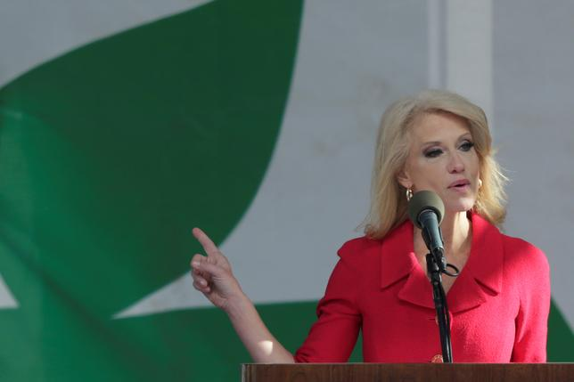 Counselor to the President Kellyanne Conway speaks at the annual March for Life rally in Washington, DC, U.S. January 27, 2017. REUTERS/Yuri Gripas