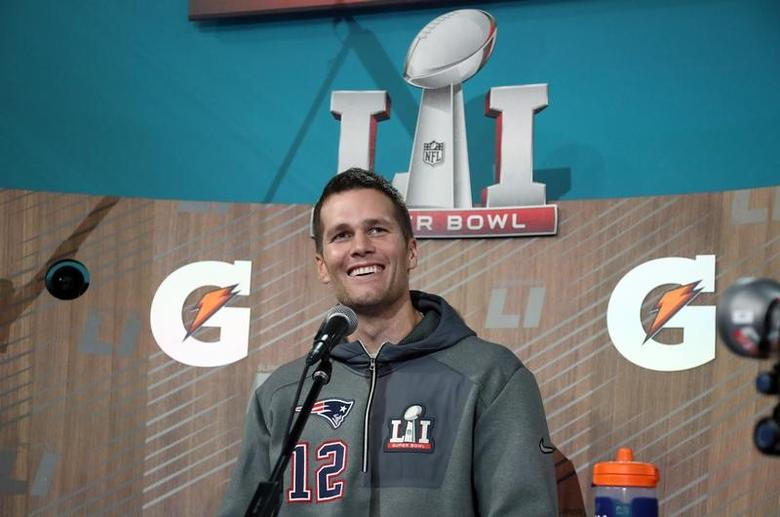 Jan 30, 2017; Houston, TX, USA; New England Patriots quarterback Tom Brady (12) during Super Bowl LI Opening Night at Minute Maid Park. Mandatory Credit: Matthew Emmons-USA TODAY Sports