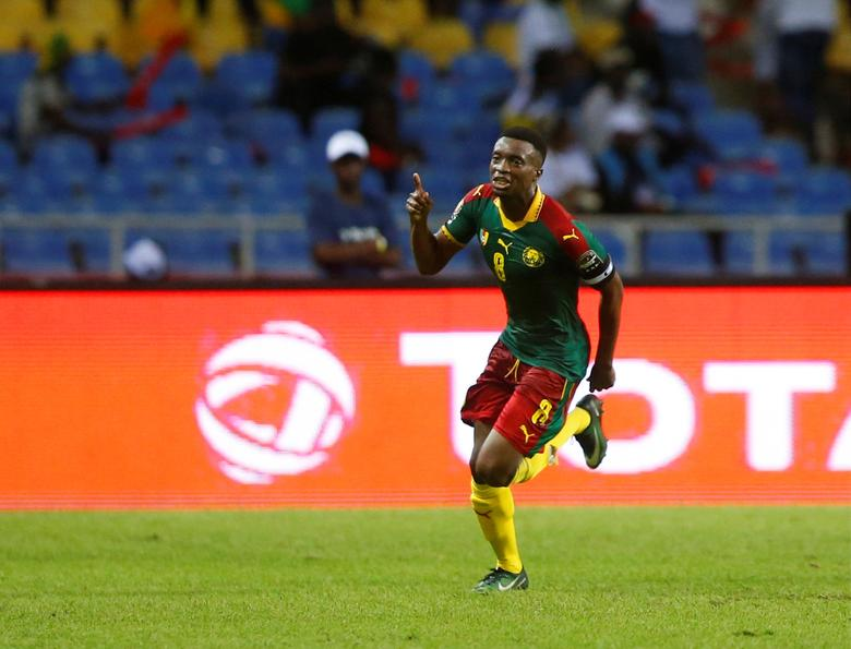 Football Soccer - African Cup of Nations - Burkina Faso v Cameroon - Stade de l'Amitie - Libreville, Gabon - 14/1/17. Cameroon's Benjamin Moukandjo celebrates scoring a goal. REUTERS/Mike Hutchings