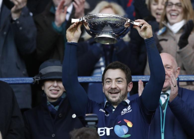 Britain Rugby Union - Scotland v Ireland - Six Nations Championship - BT Murrayfield Stadium, Edinburgh - 4/2/17 Greig Laidlaw of Scotland celebrates as he lifts the trophy after victory Reuters / Russell Cheyne Livepic