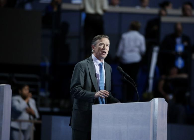 Colorado Governor John Hickenlooper speaks at the Democratic National Convention in Philadelphia, Pennsylvania, U.S. July 28, 2016. REUTERS/Lucy Nicholson/File Photo