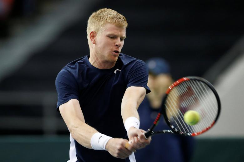 Tennis - Canada v Britain - Davis Cup World Group First Round - Ottawa, Ontario, Canada - 5/2/17. Britain's Kyle Edmund hits a shot during his singles match against Canada's Denis Shapovalov. REUTERS/Chris Wattie
