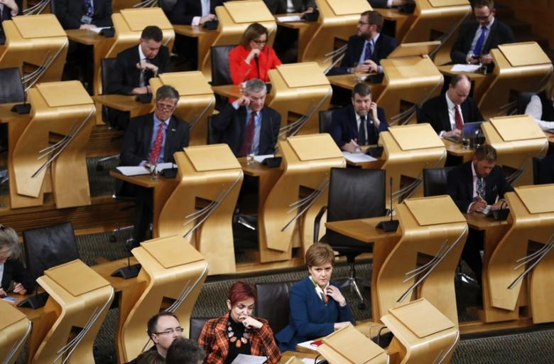 Scotland's First Minister Nicola Sturgeon attends the Brexit debate in the Scottish Parliament Edinburgh Scotland, Britain January 17, 2017. REUTERS/Russell Cheyne