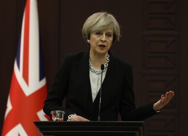 Britain's Prime Minister Theresa May speaks during a joint news conference with her Turkish counterpart Binali Yildirim (not pictured) in Ankara, Turkey, January 28, 2017. REUTERS/Umit Bektas