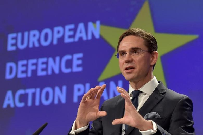 European Commission Vice-President Jyrki Katainen holds a news conference on the European Defence Action Plan in Brussels, Belgium November 30, 2016. REUTERS/Eric Vidal -