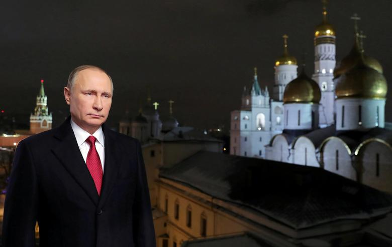 Russia's President Putin makes his annual New Year address to the nation in Moscow. Sputnik/Mikhail Klimentyev/Kremlin via REUTERS