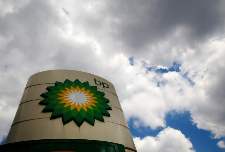 FILE PHOTO -  Signage for a BP petrol station is pictured in London July 29, 2014.    REUTERS/Luke MacGregor/File Photo