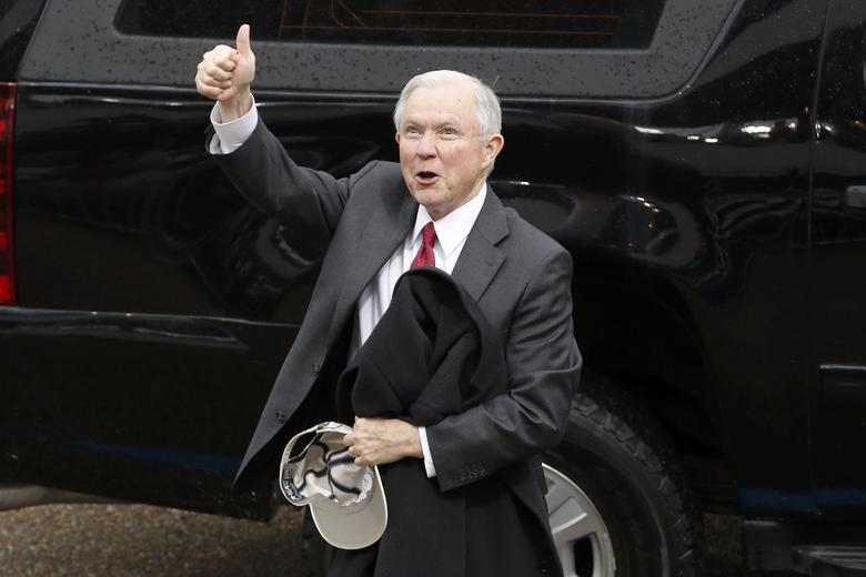 U.S. Attorney General-nominee, Senator Jeff Sessions (R-AL) reacts after the inauguration of President Donald Trump in Washington, January 20, 2017.      REUTERS/Lucas Jackson