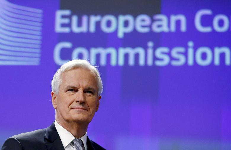 FILE PHOTO: Michel Barnier, Chief Negotiator for the Preparation and Conduct of the Negotiations with the United Kingdom under Article 50 of the Treaty on European Union, holds a news conference at the EU Commission headquarters in Brussels, Belgium, December 6, 2016.  REUTERS/Francois Lenoir/File Photo