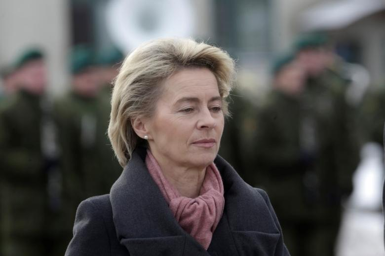 German Defence Minister Ursula von der Leyen attends a ceremony to welcome the German battalion being deployed to Lithuania as part of NATO deterrence measures against Russia in Rukla, Lithuania February 7, 2017.  REUTERS/Ints Kalnins