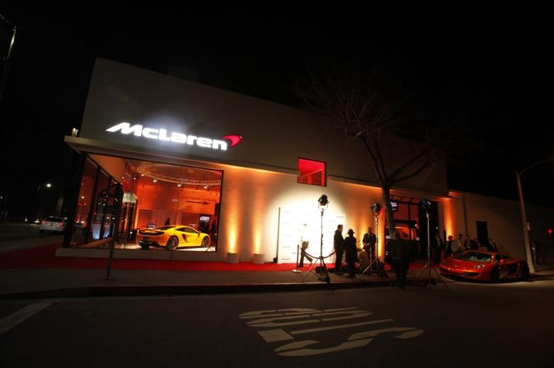 A view of the media area outside the first North American McLaren Automotive dealership during its opening in Beverly Hills, California January 10, 2012.  REUTERS/Mario Anzuoni