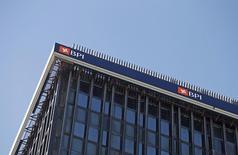 Caixabank ha aumentado al 84,52 por ciento, desde el 45,16 por ciento, su participación en el BPI tras completar una opa por las acciones que no tiene en el banco portugués. En la foto de archivo, el logo de BPI en su oficina en Lisboa el 17 de febrero de 2015. REUTERS/Hugo Correia