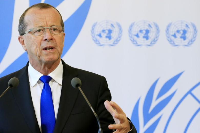 U.N. Special Representative and Head of the United Nations Support Mission in Libya, Martin Kobler talks to the media after his address to the 33rd Human Rights Council at the United Nations in Geneva, Switzerland, September 27, 2016. REUTERS/Pierre Albouy