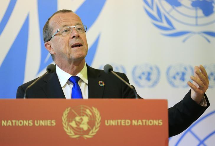 U.N. Special Representative and Head of the United Nations Support Mission in Libya, Martin Kobler talks to the media after his address to the 33rd Human Rights Council at the United Nations in Geneva, Switzerland, September 27, 2016. REUTERS/Pierre Albouy/Files