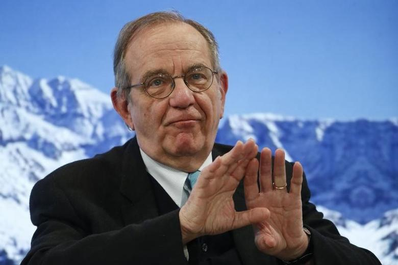 Pier Carlo Padoan, Minister of Economy and Finance of Italy attends the annual meeting of the World Economic Forum (WEF) in Davos, Switzerland, January 18, 2017. REUTERS/Ruben Sprich/File Photo
