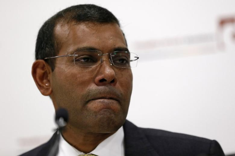 Former president of the Maldives, Mohamed Nasheed, reacts during a news conference in central London, Britain January 25, 2016. REUTERS/Stefan Wermuth