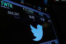 Логотип Twitter на фондовой бирже Нью-Йорка. Компания Twitter Inc отчиталась о самом медленном росте выручки с момента выхода на публичный рынок в 2013 году, продолжая бороться с серьезной конкуренцией со стороны таких социальных сетей, как принадлежащий Snap Inc мессенджер Snapchat и фотосервис Instagram, владельцем которого является Facebook Inc . REUTERS/Lucas Jackson