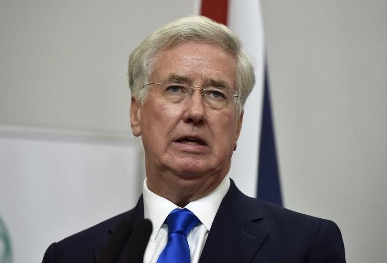 Britain's Defence Secretary Michael Fallon attends a press conference with U.S. Secretary of Defence Ash Carter at the Foreign Office in London, December 15, 2016. REUTERS/Hannah McKay/File Photo