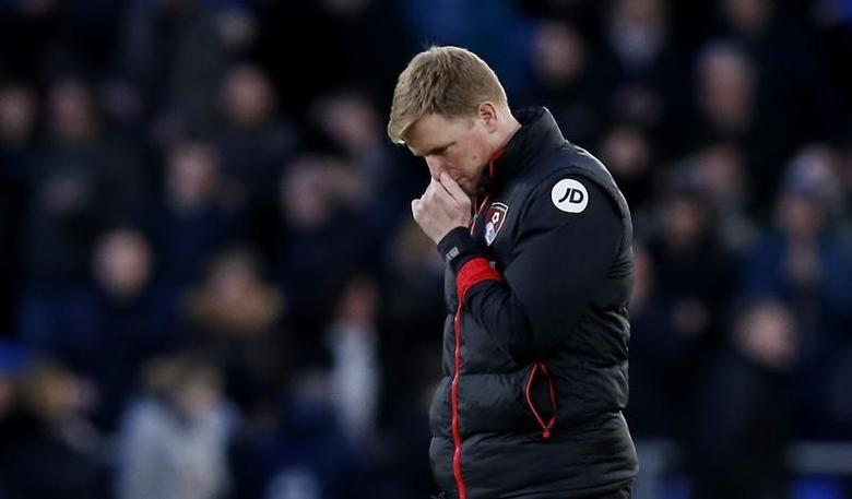 Britain Football Soccer - Everton v AFC Bournemouth - Premier League - Goodison Park - 4/2/17 Bournemouth manager Eddie Howe looks dejected after the game  Reuters / Andrew Yates Livepic