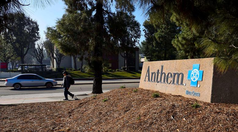 FILE PHOTO --  A sign at the office building of health insurer Anthem is seen in Los Angeles, California February 5, 2015.  REUTERS/Gus Ruelas