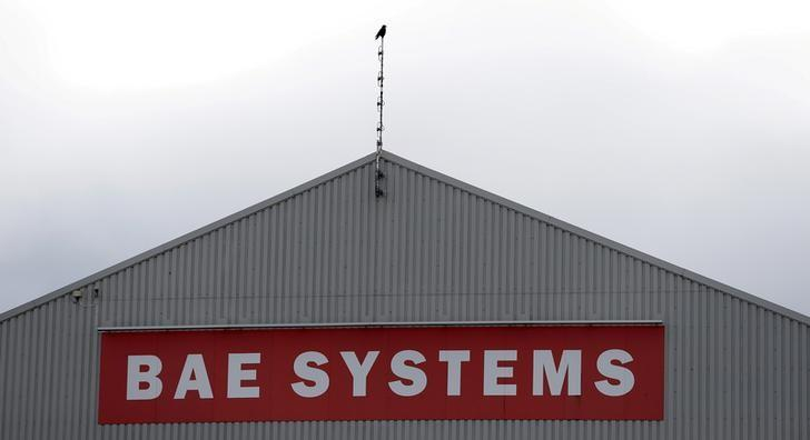 A sign adorns a hangar at the BAE Systems facility in Salmesbury, Britain, March 10, 2016.  REUTERS/Phil Noble/File Photo