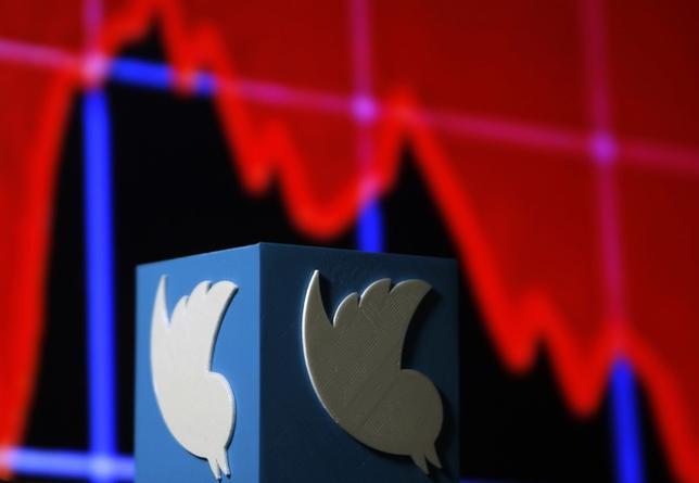 A 3D printed Twitter logo is seen in front of displayed stock graph in this illustration picture made in Zenica, Bosnia and Herzegovina, February 3, 2016. REUTERS/Dado Ruvic