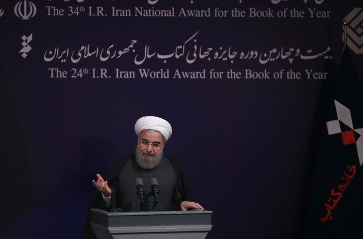 Iran's President Hassan Rouhani gestures as he speaks during the 34th Book of the Year Award ceremony, in Tehran, Iran February 7, 2017. President.ir/Handout via REUTERS