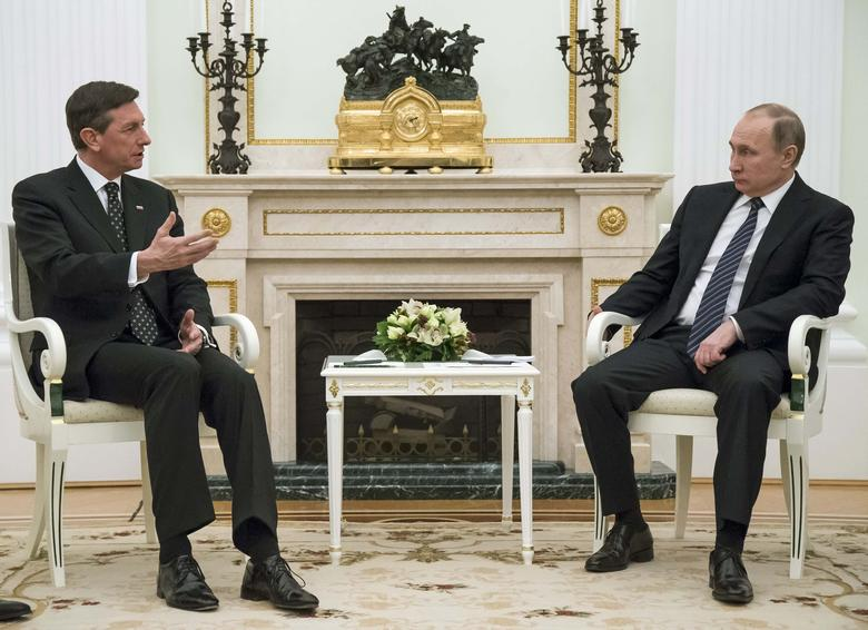 Russian President Vladimir Putin (R) meets with his Slovenian counterpart Borut Pahor at the Kremlin in Moscow, Russia, February 10, 2017. REUTERS/Alexander Zemlianichenko/Pool