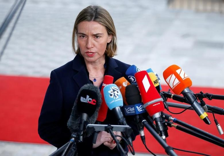 European Union foreign policy chief Federica Mogherini briefs the media during a European Union foreign ministers meeting in Brussels, Belgium February 6, 2017. REUTERS/Francois Lenoir