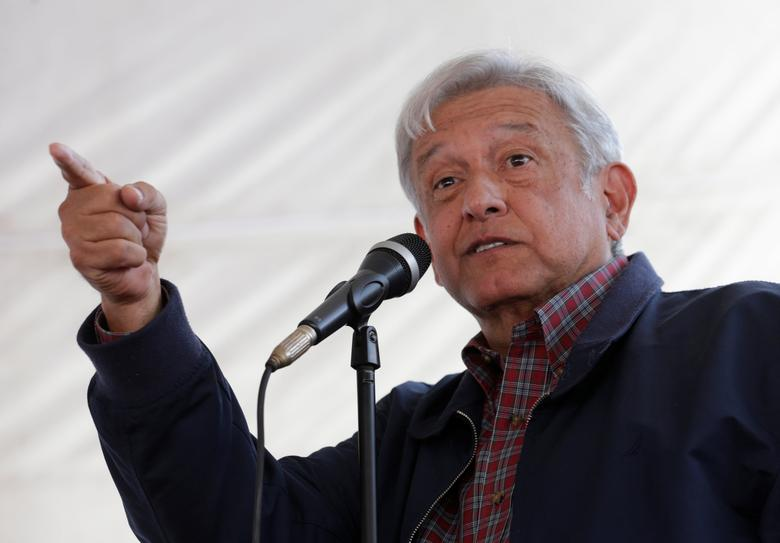 Andres Manuel Lopez Obrador, leader of the National Regeneration Movement (MORENA) party, gives a speech to supporters in Tlapanaloya, Mexico January 25, 2017. REUTERS/Henry Romero