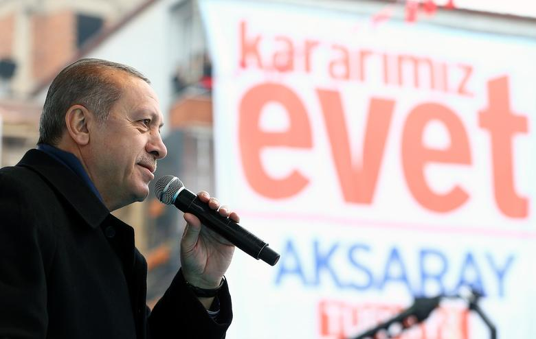 Turkish President Tayyip Erdogan makes a speech during an opening ceremony in Aksaray, Turkey, February 10, 2017. Kayhan Ozer/Presidential Palace/Handout via REUTERS