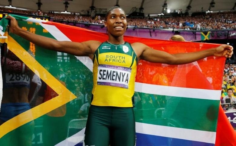 FILE PHOTO: South Africa's Caster Semenya celebrates after she won silver in the women's 800m final at the London 2012 Olympic Games at the Olympic Stadium, Britain August 11, 2012. REUTERS/Phil Noble/File Photo