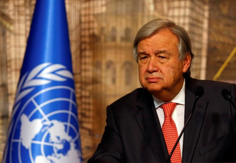 U.N. Secretary-General Antonio Guterres attends a news conference in Istanbul, Turkey, February 10, 2017. REUTERS/Murad Sezer