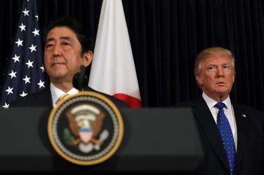 Japanese Prime Minister Shinzo Abe delivers remarks on North Korea...